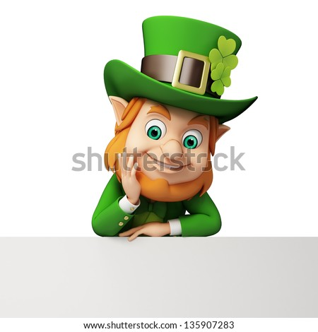 Leprechaun with big sign for st patricks day