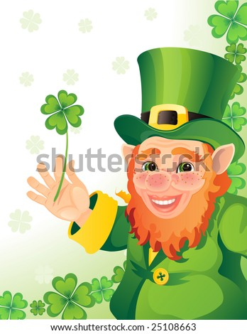 leprechaun with clover in a hand - raster version