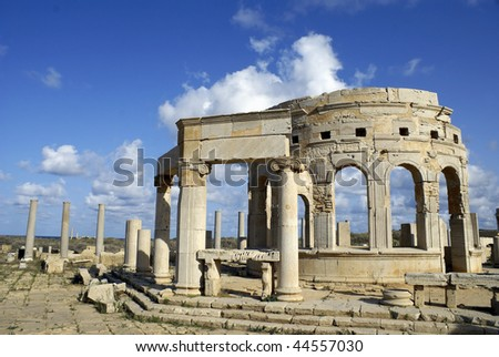 Leptis Magna Market - Libya with architectural details and deep blue sky.