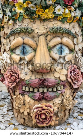Les Baux de Provence, France - June 26, 2017: The artwork titled Spring is Four Seasons three-dimensional interpretations created by P. Haas and inspired by a set of paintings by Giuseppe Arcimbaldo Photo stock ©