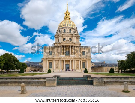 Les Invalides in Paris with the tomb of Napoleon Bonaparte under the golden dome