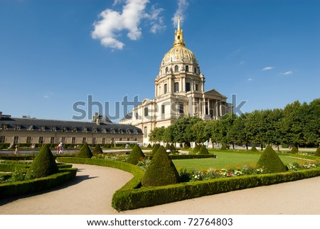 Les Invalides is a complex of museums and tomb in Paris, the military history museum of France, and the tomb of Napoleon Bonaparte. At 1860, Napoleon's remains bury in here.