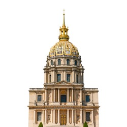 Les Invalides (or Hotel des Invalides) isolated on white background (Paris, France)