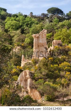 Les Orgues d'Ille sur Tet, Languedoc-Roussillon, Pyrenees-Orientales, France. Zdjęcia stock ©