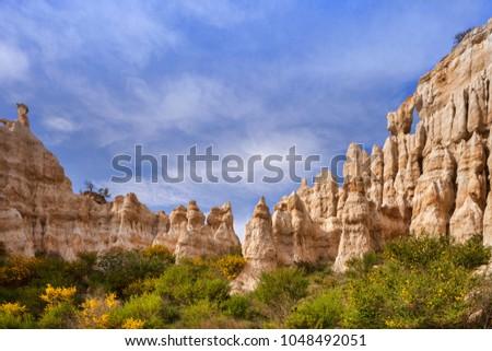 Les Orgues d'Ille sur Tet, or The Ogres, Languedoc-Roussillon, Pyrenees-Orientales, France. Zdjęcia stock ©