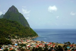 Les Pitons and Soufriere villiage in St. Lucia