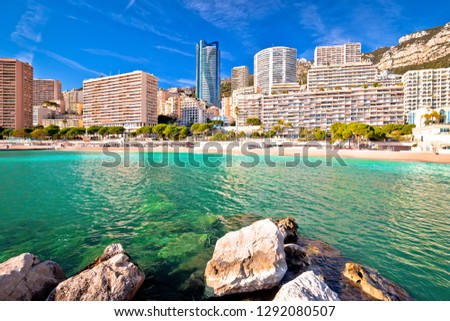 Les Plages skyline and emerald beach view, Principality of Monaco