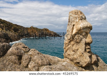 Les Rochers Sculptes (Sculptures) in Rotheneuf, Saint-Malo, Brittany, France. Photo stock ©