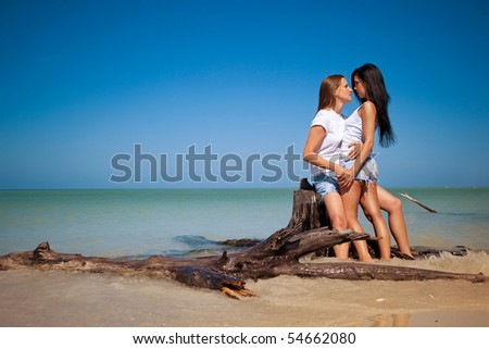 Lesbian couple on vacation