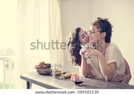 Lesbian Couple Together Indoors Concept #509505130