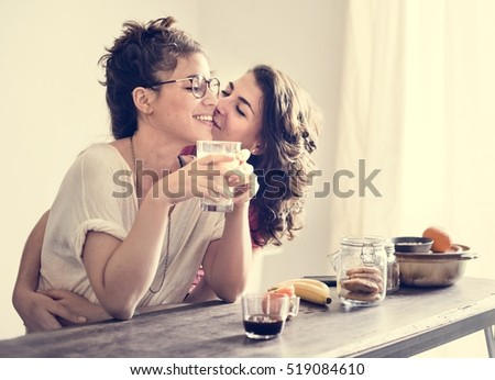 Lesbian Couple Together Indoors Concept #519084610