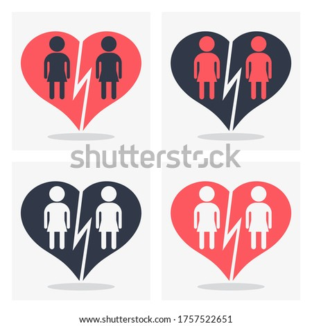 Lesbian girl couple with broken heart. Gay couple, gay women. Conceptual image of gay love and gay family. Objects isolated on a white background. Flat illustration.