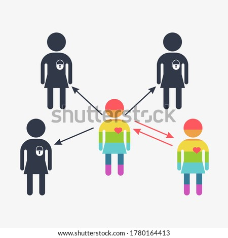 Lesbian icon. Gay couple, gay women. Conceptual image of gay love and gay family. Objects isolated on a white background. Flat illustration.