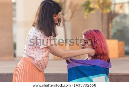 Lesbian pride LGBT pride world wide movement philosophy that lesbian, gay, bisexual, transgender be proud of their sexual orientation and gender identity equal rights and benefits for LGBT people #1433902658