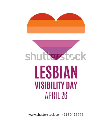 Lesbian Visibility Day illustration. Lesbian flag in heart shape icon isolated on a white background. Lesbian Visibility Day Poster, April 26. Important day Foto stock ©