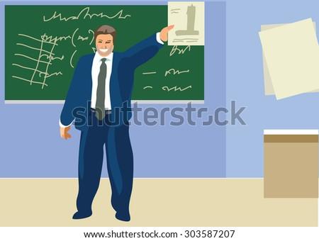 Lesson in the classroom. Teacher teaches the subject. School classroom and blackboard.