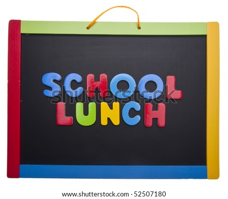 Lesson on School Lunch - Healthy or Unhealthy? Isolated on White with a Clipping Path.