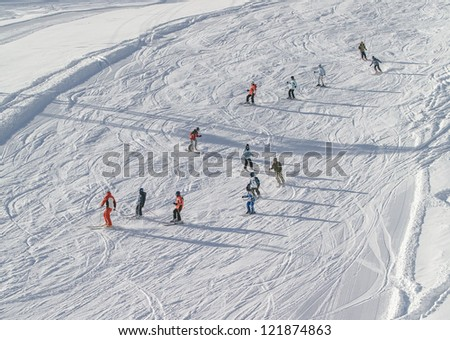 Lessons in the childrens ski school in the Kaprun, Austria