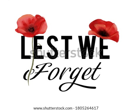 Lest we forget : remembrance day banner with watercolor poppy flowers Foto stock ©