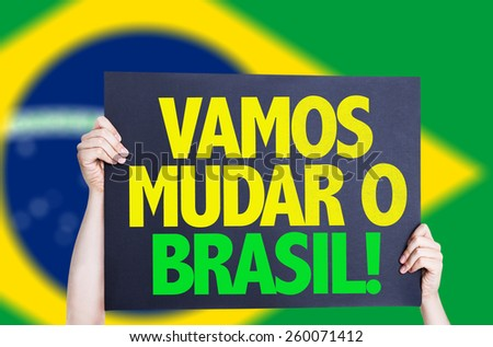 Let\'s Change Brazil (in Portuguese) card with brazil flag
