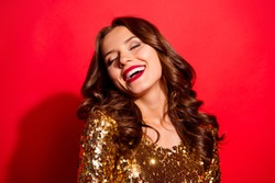 Let's dance all night! Portrait of stylish, trendy lady with closed eyes and modern wave hairdro isolated on bright red background make big white hollywood smile