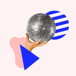 Let's have a party. Human hand holding disco ball, geometric background. Negative space to insert your text. Modern design. Contemporary art collage. Concept of music, festival, dance.