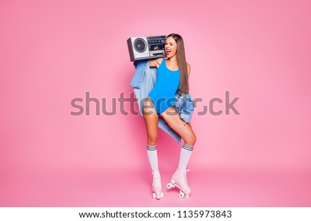 Let's make noise! Swag people person leisure hobby melody meloman concept. Full length body size photo of beautiful excited mad joyful girl holding tape radio on shoulder isolated pastel background