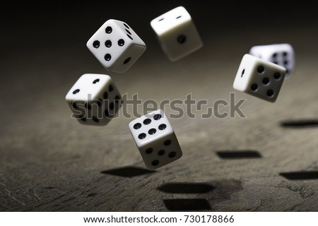Let`s play a diced game. Dice in mid air  Photo stock ©