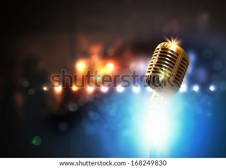 Let\'S Sing! Stylish Retro Microphone On A Colored Background
