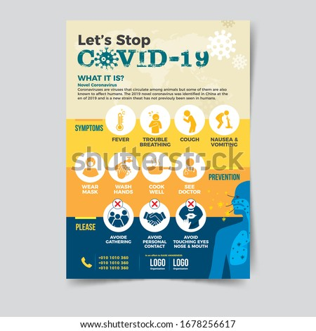 Let's Stop COVID-19 Coronavirus, COVID-19 Awareness Flyer, Coronavirus Awareness, nCov 2019 Awareness Flyer, Awareness Flyer, Useful, graphic, informative banner/poster/campaign/ad design