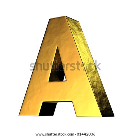 Letter A from gold solid alphabet. There is a clipping path