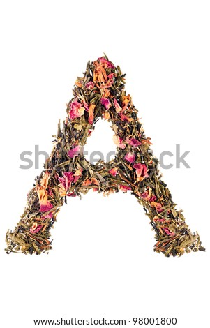 Letter 'A' from herbal tea alphabet - stock photo