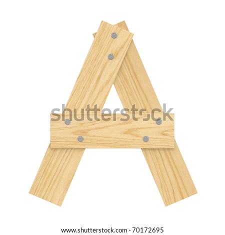 Letter A from wood board alphabet. There is a clipping path