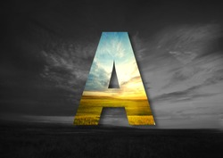 Letter A Made of landscape Typographic, Monogram