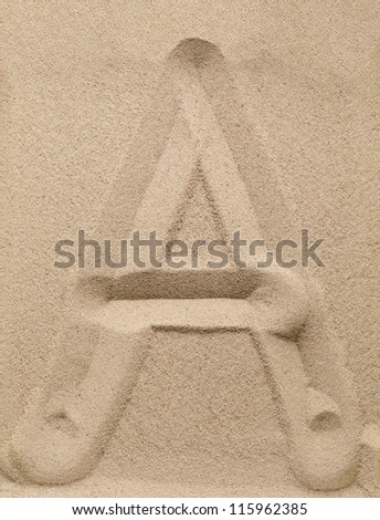 Letter A of the alphabet writing on the sand - stock photo