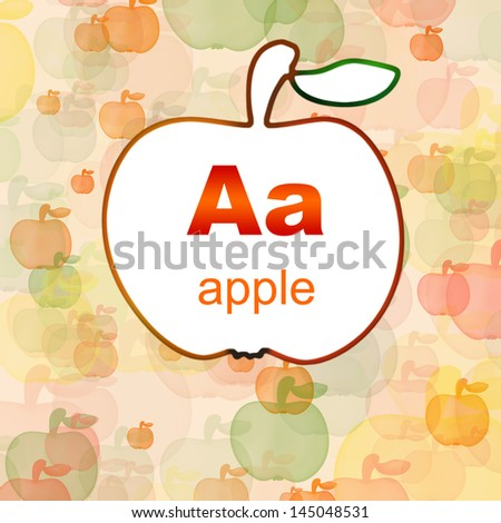 Letter A of the English alphabet in a frame from apple