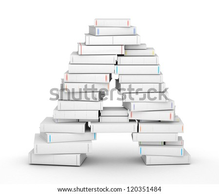 Letter A, stacked from many blank title books in column