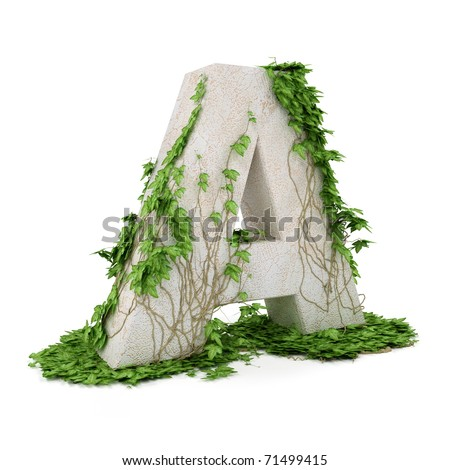 Letter A threads covered with ivy isolated on white background.