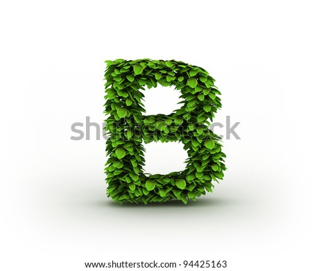 Letter B , alphabet of green leaves isolated on white background