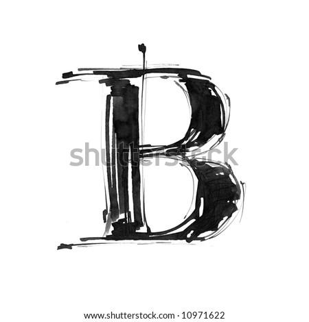 letter B. Alphabet symbol - grunge hand draw paint