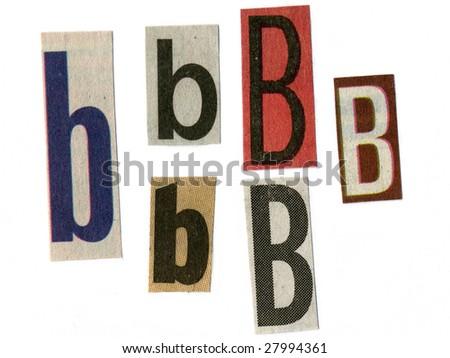 letter b cut from newsprint - stock photo