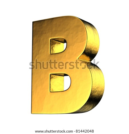 Letter B from gold solid alphabet. There is a clipping path