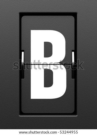 Letter B from mechanical scoreboard alphabet