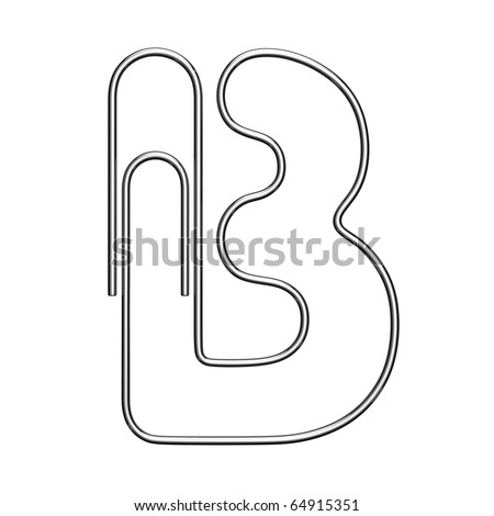 Letter B from paper-clip alphabet. There is a clipping path