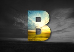 Letter B Made of landscape Typographic, Monogram