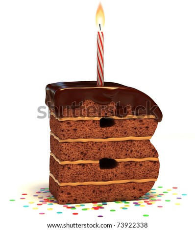 "letter ""B"" shaped chocolate birthday cake with lit candle and confetti isolated over white background"