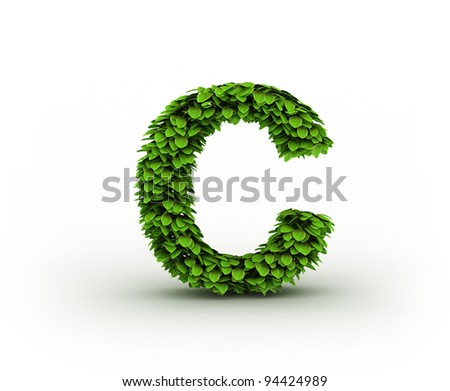 Letter C, alphabet of green leaves isolated on white background
