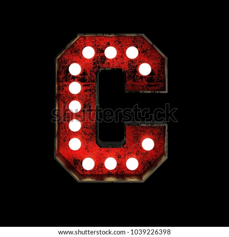 Letter C. Broadway Style Light Bulb Font made of rusty metal frame. 3d Rendering isolated on Black Background