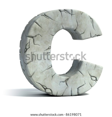 letter C cracked stone 3d font
