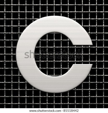 Letter C from metal net alphabet. There is a clipping path
